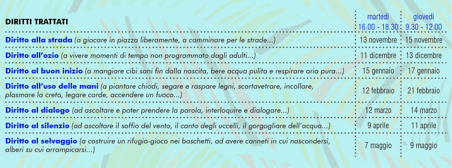 Calendario eventi DIRITTO E ROVESCIO